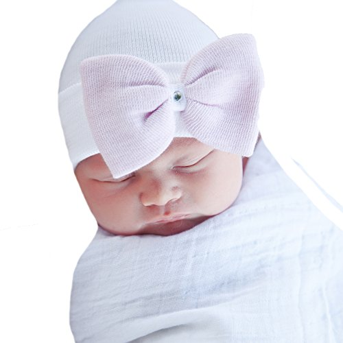 Melondipity Angel White Hospital Hat with Pink Bow and Gem for Newborn Girls Pink Angel Hat