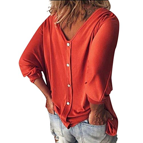 Fainosmny Fashion V Neck Shirts Womens Loose Tops Summer Three Quarter Sleeve Blouse Casual Solid T Shirts Daily Tunic Tees Orange