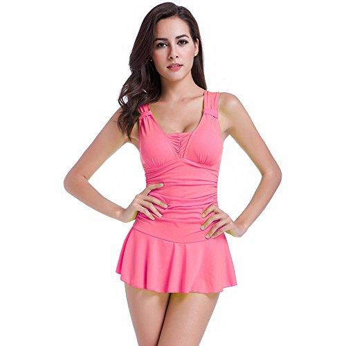 Gritu Women's Tankini Trapeze One Piece Swim Dresses Swimsuit Pink M