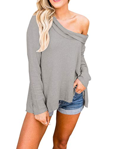 Lueyif Womens Sweaters Pullover Cold Shoulder Lightweight Long Sleeves Casual Fall Sweater Tops