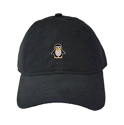 Go All Out Adjustable Black Adult Penguin Embroidered Deluxe Dad Hat