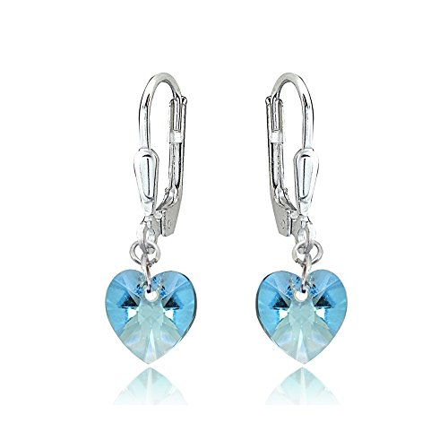 - Sterling Silver Light Blue Dainty Heart Dangle Leverback Earrings Made with Swarovski Crystals