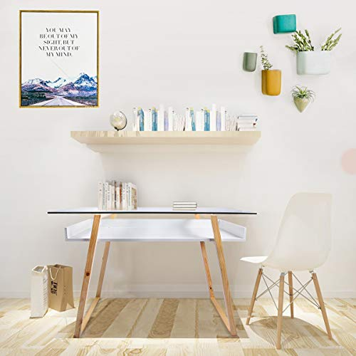 Esright Glass Top Writing Desk Natural Wood Legs Modern Desk Computer Desk Home Office Desk with Storage Shelf, White (Height 30