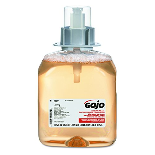 Gojo Industries 5162-03 Gojo Fmx-12 Antibacterial Luxury Foam Hand Soap Refill, 1,250 Ml, Translucent Apricot,Case of (Luxury Foam Antibacterial Refill)