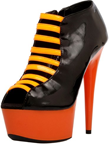 The Highest Heel Women's GLOW-121 Open Toe Bootie UVGLOW, Neon Orange Patent, Boot, 10 B(M) -