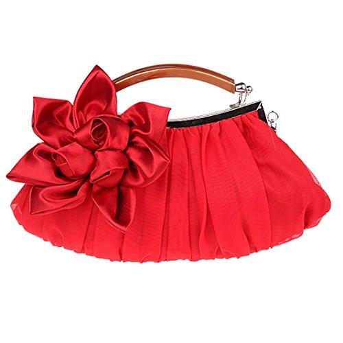 de Dunland soie Fleurs dembrayage Rouge main à concepteur Femmes Sac en rw8rB