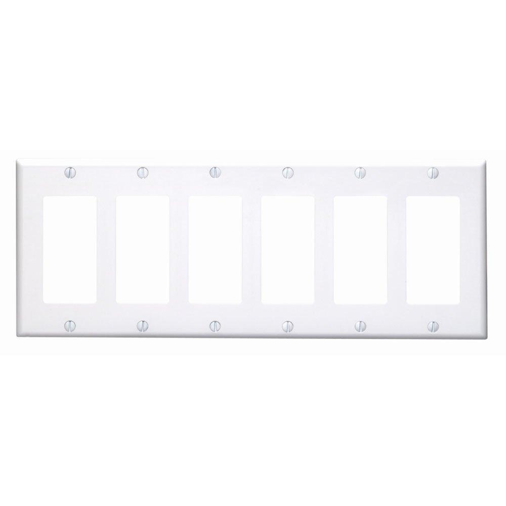 Leviton 80436-W 6-Gang Decora/GFCI Device Decora Wallplate, Standard Size, Thermoset, Device Mount, White