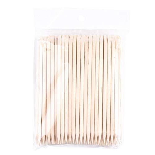 100 Pcs Nail Art Orange Wood Stick Cuticle Pusher Remover Spade Shape Manicure Nails Toolc Nail Art Care Double Sided Stick Knossos