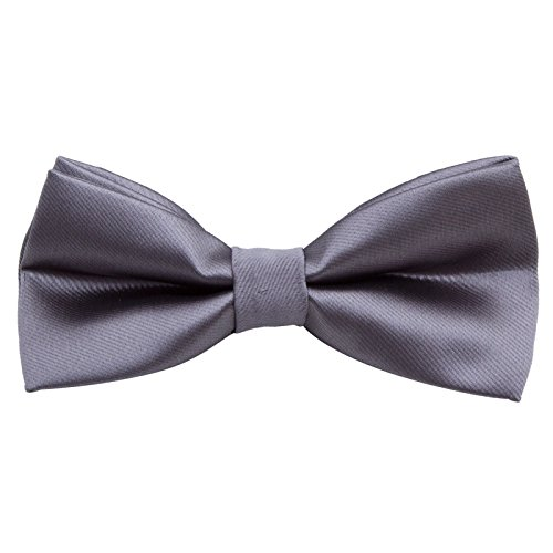 (Men's Pre Tied Bow Ties for Wedding Party Fancy Plain Adjustable Bowties Necktie (Silk-Gray))