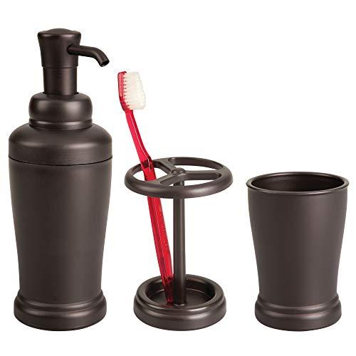 mDesign Liquid Soap Dispenser, Toothbrush Holder and Tumbler Bath Accessory Combo - Set of 3, ()