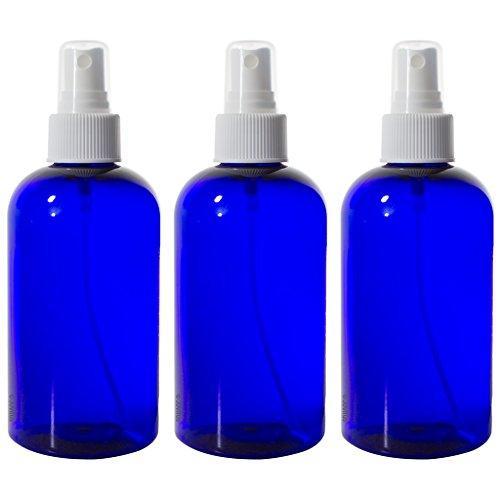Cobalt Blue 8 oz Boston Round PET Bottles (BPA Free) with White Fine Mist Sprayer (3 pack) + - Boston Bottles Round Pet Plastic