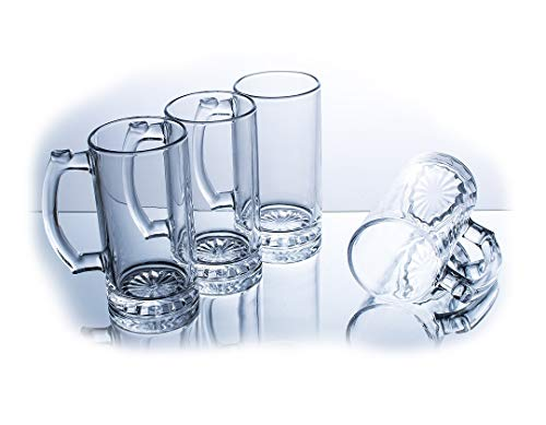 (Beer Mugs Stein With Simple Chic Glass Design -15.4 Oz (Set of)