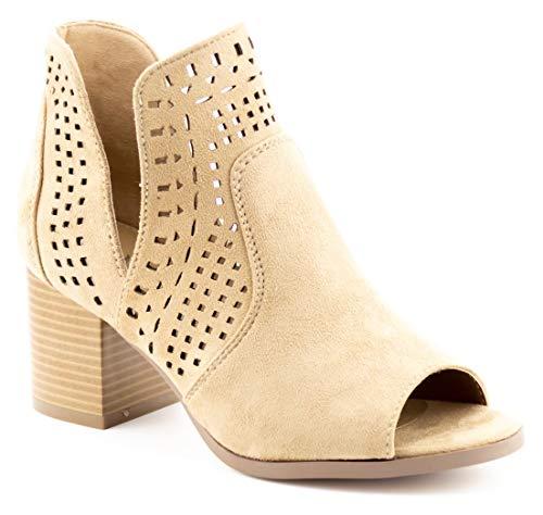 Toe Beige Peep (CALICO KIKI AVERY-CK02 Peep Toe Ankle Booties Fashion Cut Out (8 US Beige SU))
