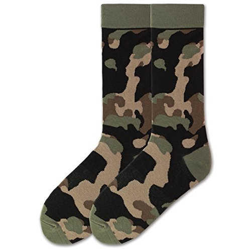 (K. Bell Socks Men's The The Outdoors Novelty Crew Socks, Camo (Olive), Shoe Size:)