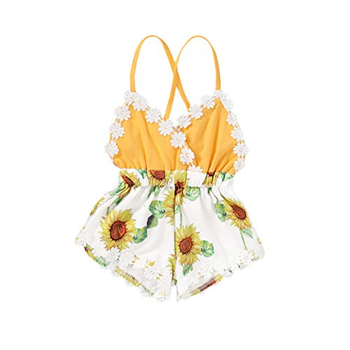 Summer Toddler Baby Girl Clothes Cute Fruit/Flower Print Lace Trim Backless Romper Shorts Jumpsuit