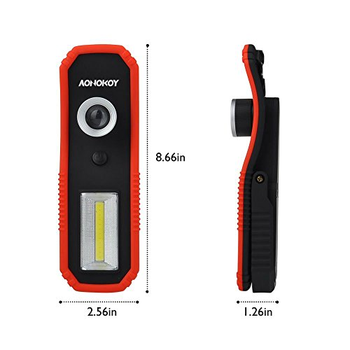 Portable LED Work Lights,Focus Function Multi-use 100LM XPE LED and 200LM COB,Waterproof Magnetic Base & Hanging Hook for Outdoor,Car Repairing, Blackout,Emergency,Travel and Indoor by AONOKOY (Image #4)