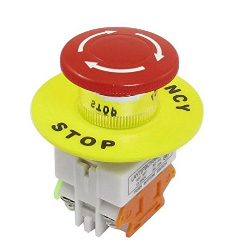 TOOGOO(R) Red Mushroom Cap 1NO 1NC DPST Emergency Stop Push Button Switch AC 660V 10A (Switch Stop Button Push)