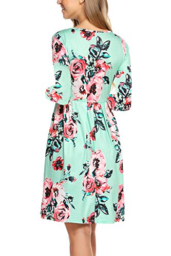 with Dresses Long Women BLUETIME Floral Sleeve Pockets Green Print Casual Pleated q8TawZx