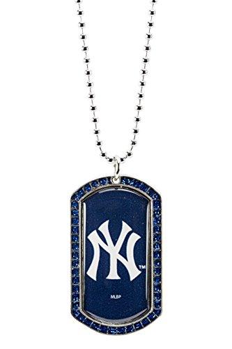 MLB New York Yankees Glitter Stone Dog Tag Necklace Base