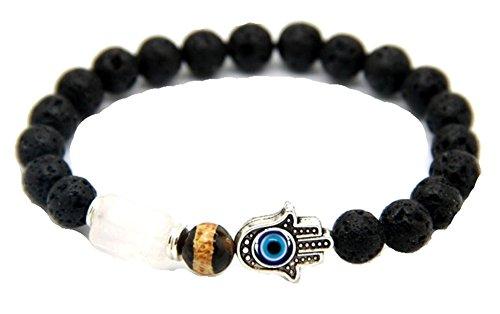 JY Jewelry® Lava Stone Dzi Bead Hamsa hand Stretch Bracelets