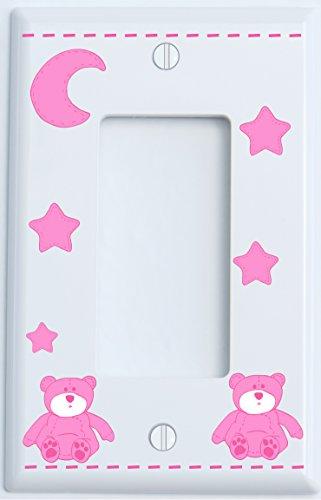 (Pink Teddy Bear Light Switch Plate Single Rocker Covers with Pink Moon and Stars/Teddy Bear Nursery Decor (Single)