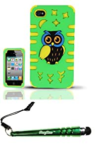 FoxyCase(TM) FREE stylus AND iPhone 4 4s (AT&T Verizon Sprint T-Mobile Cricket) PC SC Owl 3D Design Case Cover Protector - PCSC Neon Green Yellow Desire Safe Phone cas couverture