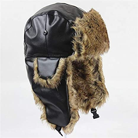 905f274c3fa Image Unavailable. Image not available for. Color  ForShop Bomber Pilot Cap  for Men Women Winter Aviator Hat Faux Leather Faux Fur Earflap Trapper