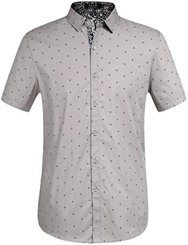 SSLR Men's Printed Regular-Fit 100% Cotton Short Sleeve Casual Shirts (Large, -