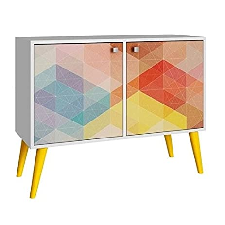 Bowery Hill 2 Door Console Table In White And Yellow