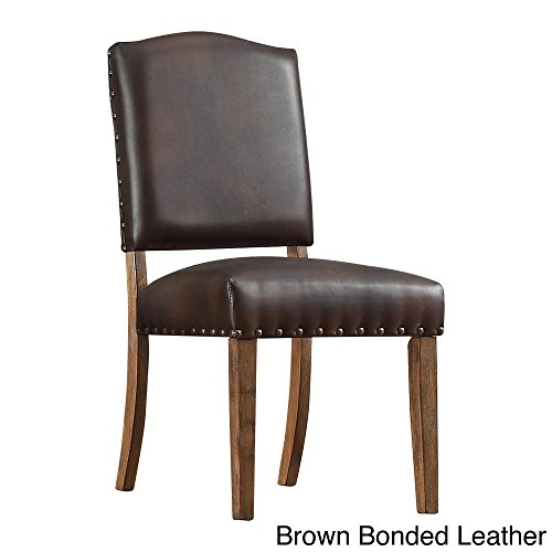 Cheap Benchwright Nailhead Upholstered Dining Side Chairs (Set of 2) Brown Bonded Leather