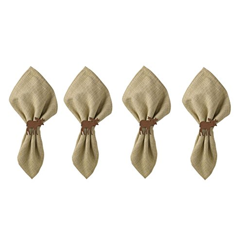Country Moose Napkin Rings - Brown Crackle Finish - Set of (Crackle Finish Set)