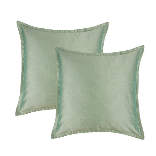 - The White Petals Set of 2 Sage Green Euro Pillow Sham Covers With Flange (26X26 inches, Solid Sage Green)