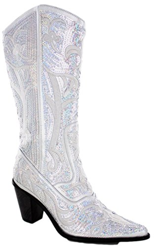 HELENS HEART 0290-12 SILVER WOMENS WESTERN BOOT Size 9M