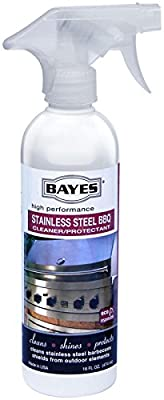 Bayes High-Performance Stainless Steel BBQ Cleaner and Protectant - Cleans, Shines and Protects Stainless Steel Barbecue Surfaces, Shields from Outdoor Elements - 16 oz