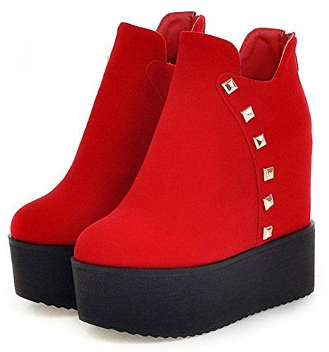 Idifu Kvinna Elegant Nit Zip Högt Kilklack Plattform Kort Boots Röd
