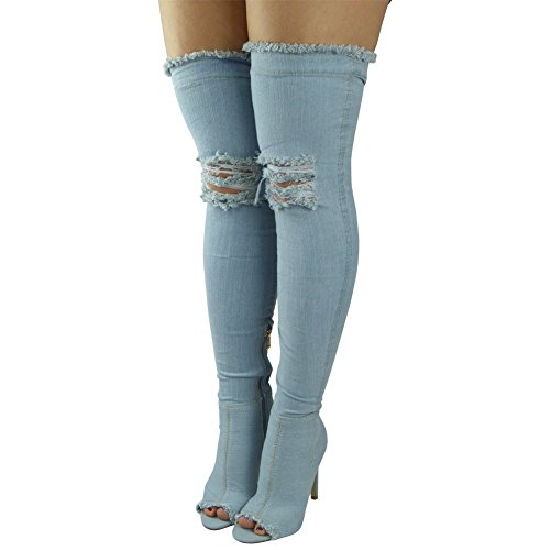 Womens Ladies Thigh High Over The Knee Denim Peeptoe Stiletto Heel Boots Size 3-8 Light Denim vhUKqPmmg