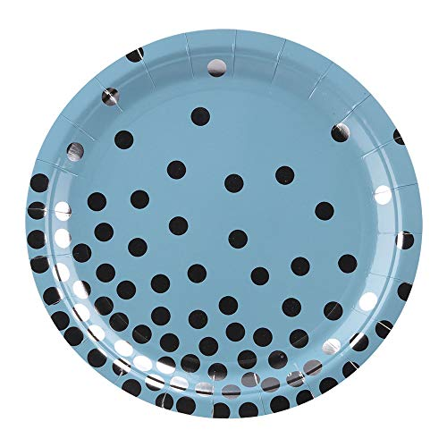 - Ottin Blue Dinner Paper Plates 48Counts 9'' Blue and Silver Foil Party Plates for Wedding Decorations Birthday Bridal Shower Party Supplies Weekend Party Engagement (Blue with Silver Foil Dots, 9'')