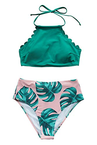Seaselfie Women's Teal Palm Print Halter High Leg Cut High Rise Bikini Set, XL