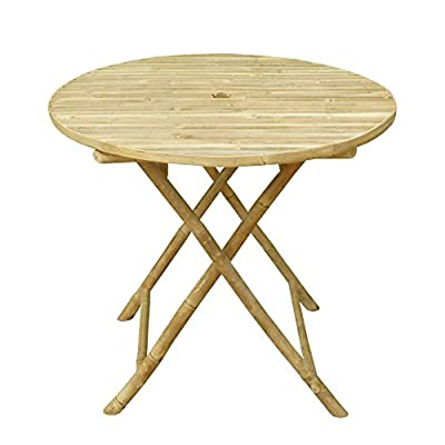 Zero Emission World Ta-143 Bamboo Round Folding Bistro Table, Natural, 31.5X31.5X29.5 - Dendrocalamus Strictus is a solid bamboo which grows only around Ho Chi Minh City, perfect substitute to wood Hand Crafted Green Product - patio-tables, patio-furniture, patio - 41j%2BqVQybWL. SS400  -
