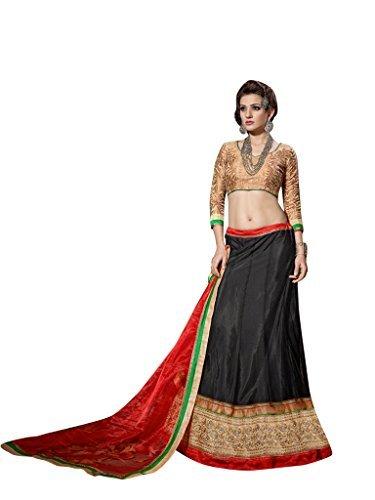 Vibes Women's Net Un-Stitched Party Wear Lehenga Choli Free Size Black