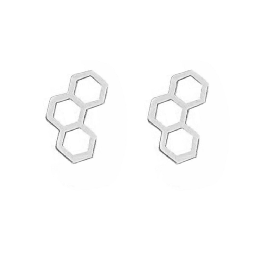 MANZHEN Tiny Gold Silver Honeycomb Stud Earrings for Girls