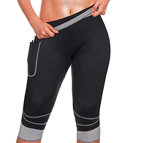 TrainingGirl Slimmer Sweat Shorts with Pocket for Women Weight Loss Slimming Hot Neoprene Sauna Pants Workout Body Shaper Yoga (Grey, L) ()