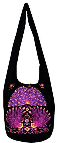 Peacock Printed Bohemian Hippie Hipster Hobo Boho Crossbody Shoulder Bag Big 38