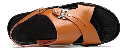 Hw-goods Mens 2 Style Pantoufle Plat Souple En Cuir Casual Mode Sandales Orange