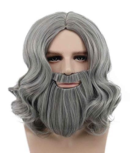 Karlery Men Long Wave Gray Beard Wigs Halloween Costume Wig Anime Cosplay -