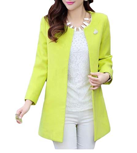 - Winwinus Women's Topcoat Mid Pure Color Plus Size Cardigan Crew Neck Pea Coat Fluorescent Green S