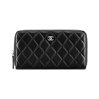 Chanel Black Burgundy Lambskin Zipped Wallet Article: A50097 Y01480 C3906