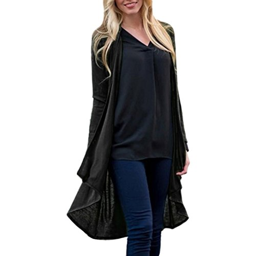 vermers Hot Sale Fashion Kimono Cardigan Tops Womens Solid Shawl Print Cover Up Blouse Beachwear(2XL, Black) by vermers