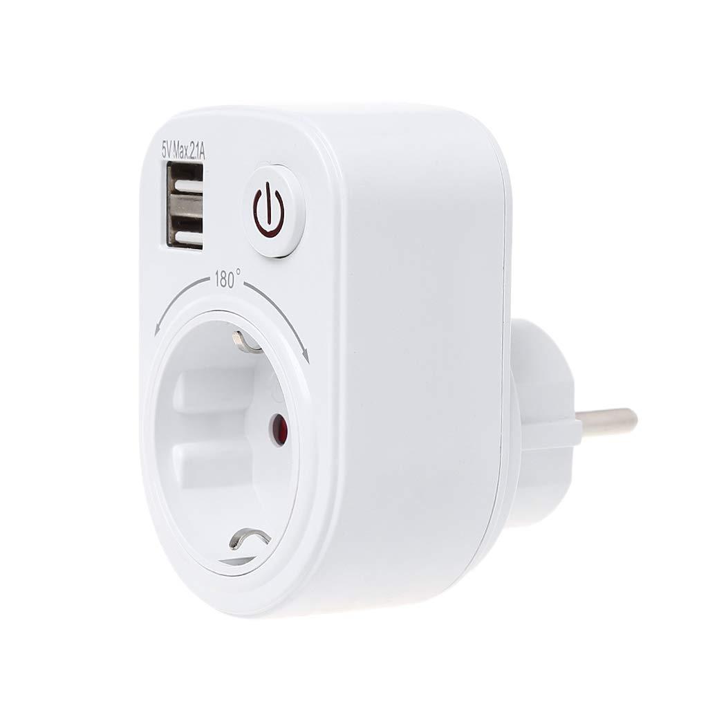 siwetg Cargador De Pared Adaptador De Viaje Toma De Corriente con Puertos USB Dobles Interruptor De Encendido