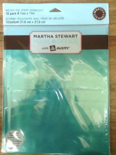 Martha Stewart Home Office with Avery Secure-Top Sheet Protectors, 2 Pockets, Green, 8-1/2